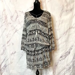 Joie Vork Black Elephant Sheer Drop Waist Dress